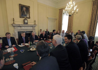 Britain's Prime Minister Brown, chairs a Budget cabinet meeting at 10 Downing Street in central London