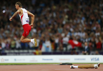 Poland's Lukasz Mamczarz starts his run up during the men's high jump F42 final at the London 2012 Paralympic Games