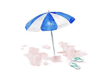 ビーチパラソルとビーチサンダル 水彩イラスト