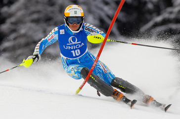 Sweden's Hansdottir clears a gate during the first run of the women's slalom World Cup race in Flachau