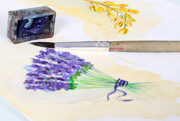 Beautiful photo of watercolor illustration with lavender