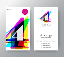Logo number 4 business card design template. Vector graphic design elements for Corporate Identity.