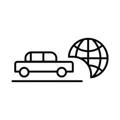 Travel by car vector icon. Black and white transport illustration. Outline linear icon.