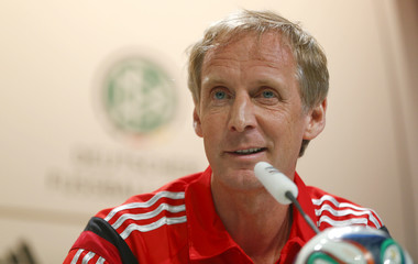 Germany's national soccer team sport psychologist Hermann addresses  a news conference in the village Santo Andre