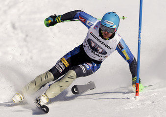 Ligety of the U.S. loses a ski during the slalom competition of the men's Alpine Skiing World Cup super combined race at Lauberhorn in Wengen