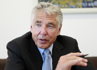 Chairman of Nestle, Brabeck, gestures during an interview with Reuters at the company headquarters in Vevey