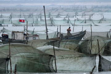 A North Korean fishes on the Yalu River in Sinuiju