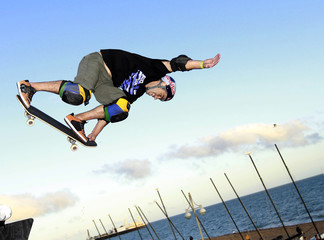 Skateboarder Tony Hawk performs during the Tony Hawk and Friends European Skateboarding Tour in Brighton southern England