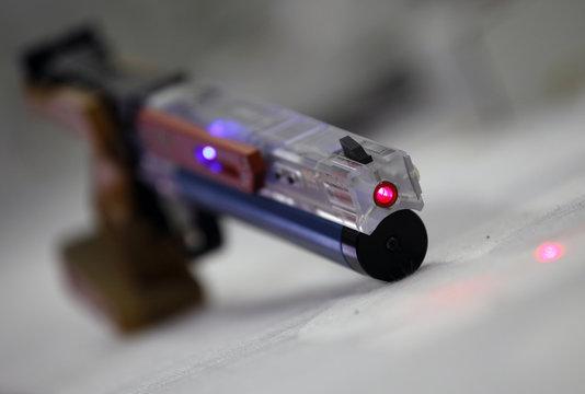 A laser gun is seen during a training session of the Italian modern pentathlon team at the shooting range in Montelibretti