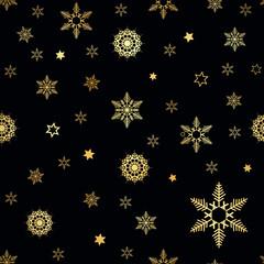 Winter Seamless gold Snowflake Pattern. Vector EPS 10. snowflakes seamless