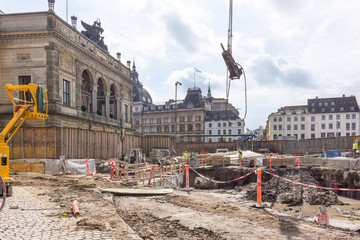 Contruction site for a new metro in front of the Roal Theatre in Copenhagen