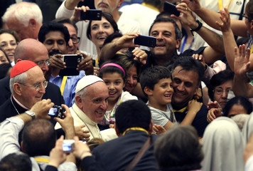Pope Francis arrives to attend a conference of the Rome diocese at the Paul VI hall in Vatican