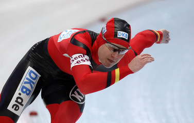 Germany's Wolf skates to win the women's 500m race at the World Single Distances Speed Skating Championships in Inzell