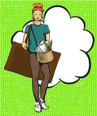 Vector pop art illustration of female artist.