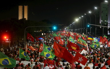 People demonstrate in support of Brazilian President Dilma Rousseff's appointment of former President Luiz Inacio Lula da Silva as her chief of staff, in Brasilia