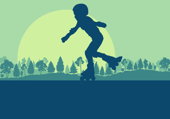 Inline skate kid in park landscape with forest trees vector