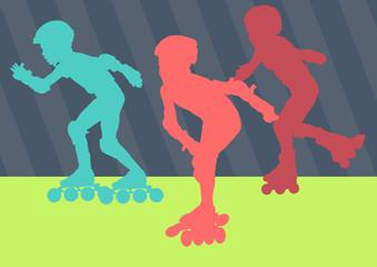Inline skater vector abstract vector burst