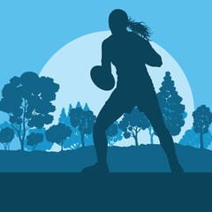 Rugby woman player vector background landscape with forest trees