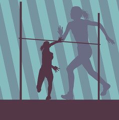 High jump active woman athlete in motion sport silhouette vector abstract background