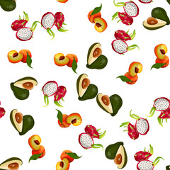 Very high quality original trendy vector seamless pattern with pitaya, avocado, peach, dragon fruit, exotic tropical fruit