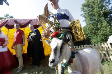 Goat owner Ferdinandas Petkevicius pose for a picture with goat winner Demyte, during goat beauty pageant in Ramygala