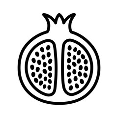 Pomegranate fruit cut in half line art vector icon for food apps and websites