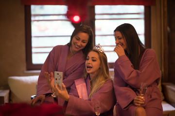 girls doing Selfy on  bachelorette party