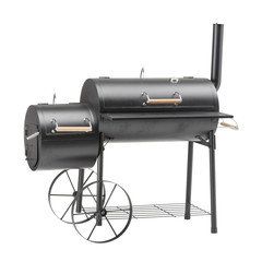 Barbecue Smoker Isolated on White Background. Barbecue Grill. BBQ Grillware Grill. Outdoor Cooking Station. Outdoor Grill Table. Clipping Path