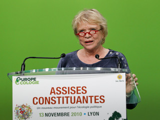 Eva Joly delivers a speech as she attends a meeting in Lyon
