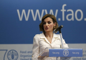 Spanish Queen Letizia gives a speech before receiving her appointment as the FAO special ambassador for nutrition from U.N. Food and Agriculture Organization (FAO) Director-General Jose Graziano da Silva at the FAO in Rome