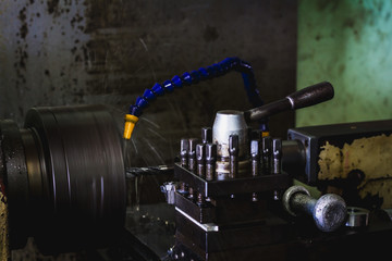 lathe machine working during productivity in industry