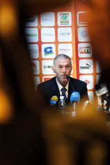 Michel Dussuyer of France, the new soccer coach of African champions Ivory Coast, attends a news conference in Abidjan