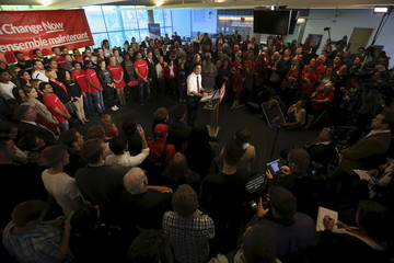 Liberal leader Trudeau speaks during a campaign stop in Hamilton