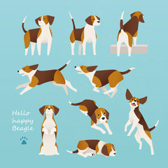 beagle dog various poses flat design illustration set
