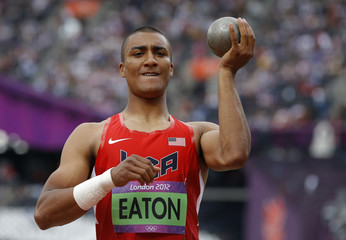 Ashton Eaton of the U.S. competes in the men's decathlon shot put event at the London 2012 Olympic Games at the Olympic Stadium