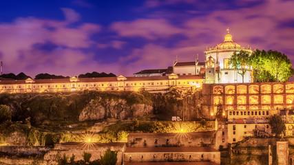 Porto, Portugal: the Serra do Pilar Monastery on the Vila Nova de Gaia side at sunset