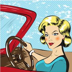Vector pop art illustration of woman driving red cabriolet