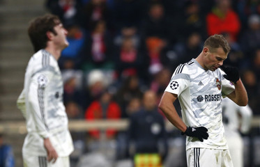 CSKA Moscow's Ignashevich reacts after losing their Champions League Group E soccer match against Bayern Munich in Munich
