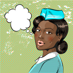 Vector pop art illustration of beautiful african american stewardess