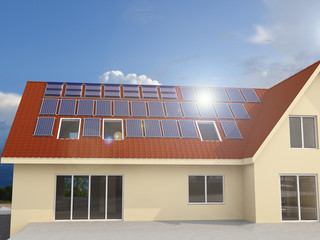 Solar Power House 3d concept, Solar Panels With Lens Flare, Solar Water heating systems, Renewable Energy Home, Water Heaters Panels On a Roof - 3D Rendering