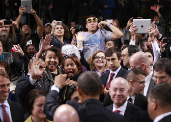 U.S. President Obama greets members of the audience after delivering remarks on immigration reform at Del Sol High School in Las Vegas