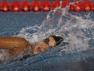 Venezuela's Andreina Pinto competes in the women's 400m freestyle preliminaries at the Pan American Games in Guadalajara