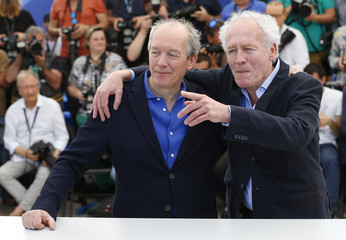 "Directors Luc and Jean-Pierre Dardenne pose during a photocall for the film ""La fille inconnue"" (The Unknown Girl) in competition at the 69th Cannes Film Festival in Cannes"