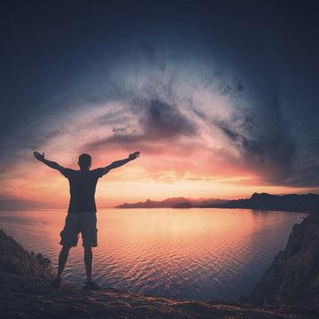 Human welcome colorful sunrise. Instagram stylization