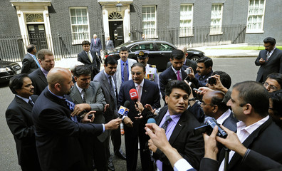 Pakistani President Asif Ali Zardari speaks with media after meeting with Britain's Prime Minister David Cameron at number 10 Downing Street in London