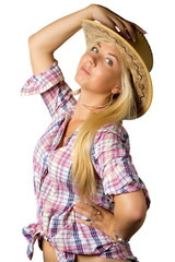 Attractive young woman in cowboy dress and hat