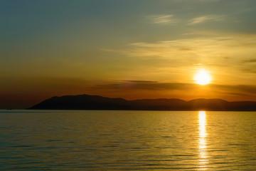 Beautiful natural sunset over sea