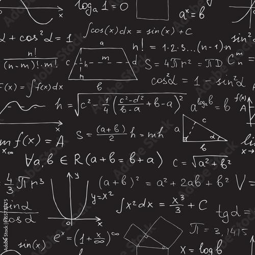 Vector Seamless Math Pattern Chalk Mathematical Symbols On Black