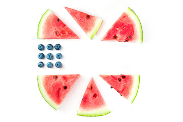Blueberries and watermelon slices in colors of American flag on