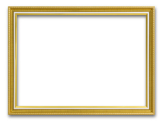 Gold frame for painting or picture on white background. Gold frame photo isolated.